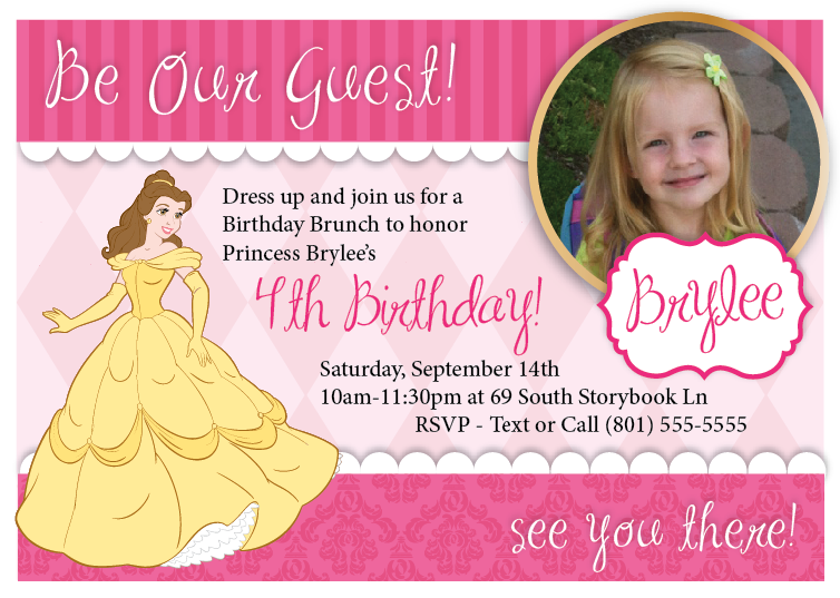 Printable customized princess party invitation the printable party printable belle princess birthday custom invitation with photo filmwisefo
