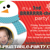Printable Christmas Birthday party invitation custom printable invitation