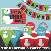 Printable Christmas/Snowman Party decorations downloadable christmas party decor