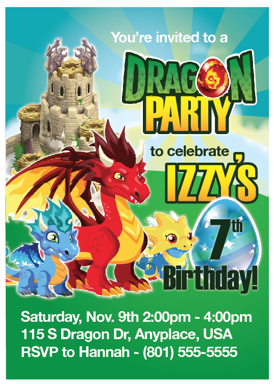 Custom Printable Dragon Party Invitation The Printable