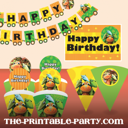 printable dinosaur train birthday party decor the printable party customizable printable. Black Bedroom Furniture Sets. Home Design Ideas