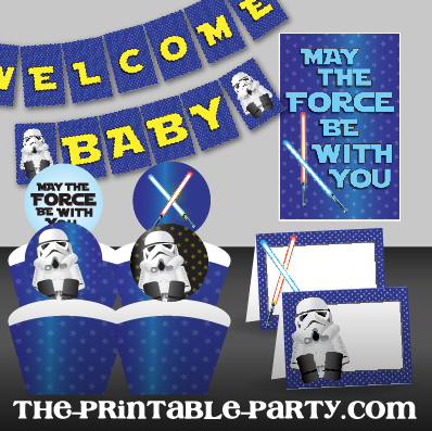 Printable Star Wars Baby Shower Decor