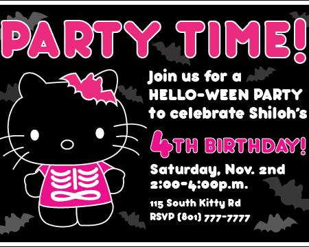Printable Hello Kitty Invitation Birthday Halloween Party