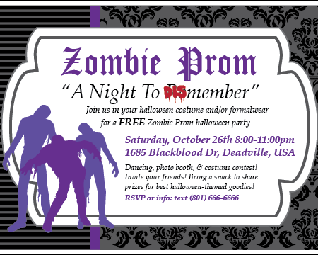 Custom Printable Zombie Halloween Party Invitation – Costume Party Invitations Free Printable