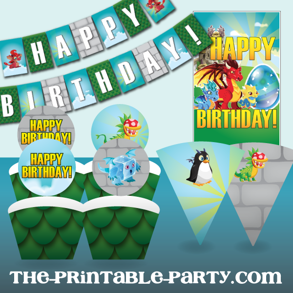 photograph about Printable Party Decorations named Printable Dragon Metropolis Occasion Decorations