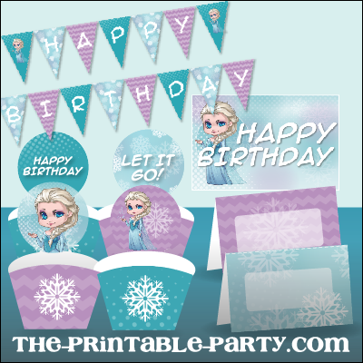 Printable Frozen Elsa party banner decorations