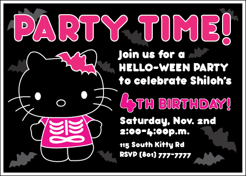 graphic regarding Printable Halloween Birthday Invitations named Custom made Printable Hi there-Ween Kitty Invitation